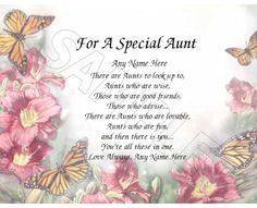 FOR A SPECIAL AUNT PERSONALIZED PRINT POEM MEMORY BIRTHDAY MOTHERS DAY GIFT | Specialty Services, Printing & Personalization, Other Printing Services | eBay!