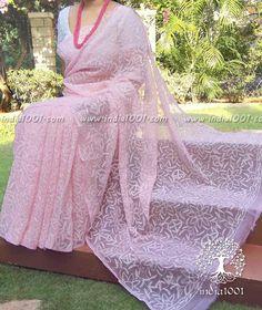Elegant Faux Georgette Tepchi Chikankari Saree Indian Attire, Indian Wear, Saree Jacket Designs, Saree Jackets, House Of Blouse, Saree Wearing, Sari Design, Saree Look, Elegant Saree