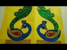 Glitter Foam sheet craft/ peacock theme ganpati decoration PART 1 Ganpati Decoration Theme, Thali Decoration Ideas, Ganapati Decoration, Diwali Decorations, Festival Decorations, Foam Board Crafts, Foam Sheet Crafts, Peacock Crafts, Peacock Rangoli