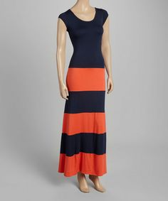This Navy & Orange Color Block Maxi Dress is perfect! #zulilyfinds