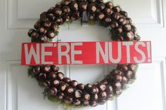 """How to make an Ohio State """"We're Nuts"""" Buckeye WreathYou can find Ohio and more on our website.How to make an Ohio State """"We're Nuts"""" Buckeye Wreath Ohio State Decor, Ohio State Wreath, Ohio State Crafts, Ohio State Baby, Ohio State Football, Buckeyes Football, Buckeye Crafts, Buckeye Nut, Ohio State Buckeyes"""