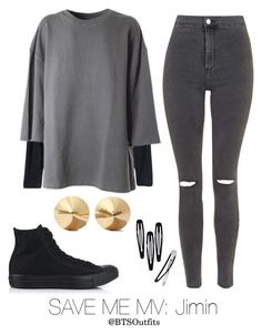"""""""Save Me MV: Jimin"""" by btsoutfits ❤ liked on Polyvore featuring H&M, adidas Originals, Eddie Borgo, Topshop and Converse"""