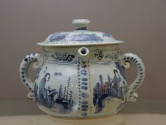 Brislington Blue and White Delftware Posset Pot and Cover