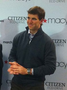 Giants QB Eli Manning at the press conference announcing his personal Citizen watch. #EliManning #Giants #NFL