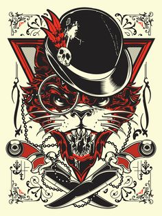 like: the knives, bowler hat, fur of cat, shape of eyes, detail in the top corners ...ok everything