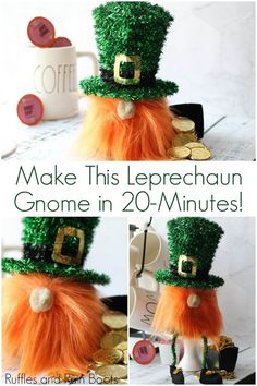 Gnome - A sock gnome for St. Patrick& Day Leprechaun Gnome - A sock gnome for St. Patrick's Day,Leprechaun Gnome - A sock gnome for St. St. Patrick's Day Diy, Gnome Tutorial, St Patricks Day Food, Saint Patricks, Diy St Patricks Day Decor, St Patrick's Day Decorations, Leprechaun Hats, Kobold, Diy