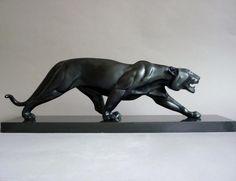 Rulas Grande Panthère Noire Bronze Art Déco 1930, 1930's, Proantic