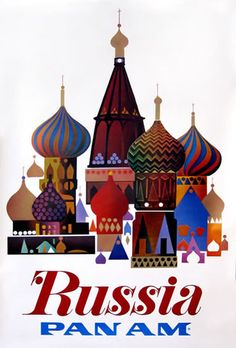 Premium Giclee Print: Russia - Pan American World Airways - Saint Basil's Cathedral, Moscow - Onion Domes by Pacifica Island Art : Poster Art, Retro Poster, Kunst Poster, Poster Prints, Art Prints, Vintage Travel Posters, Vintage Ads, Retro Airline, Vintage Airline