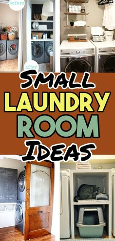 Small Laundry Room Ideas (on a BUDGET) - Laundry room organization and small laundry room ideas. These laundry room makeover pictures are amazing before and after laundry area makeovers. Use floating shelves and over laundry room shelving to make more s Laundry Nook, Tiny Laundry Rooms, Laundry Room Shelves, Laundry Room Remodel, Laundry Storage, Laundry Tips, Small Room Organization, Storage Room, Storage Ideas