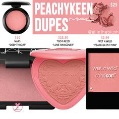 """I have another MAC Blush dupe to share with you! The next shade up on the dupe list is """"Peachykeen"""", a very baby peach hue. Mac Blush Dupes, Dupes Nyx, Mac Eyeshadow Dupes, Drugstore Makeup Dupes, Beauty Dupes, Sephora Makeup, Drugstore Blush, Beauty Products, Makeup Products"""
