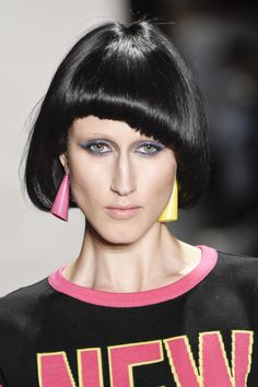 We can always count on Jeremy Scott to do a proper look, look. This season models were given one of three bold Mac eyeshadow shades, paired with electric blue or red mascara by make-up artist Kabuki.