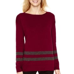 Liz Claiborne® Long-Sleeve Boatneck Tunic Sweater  found at @JCPenney