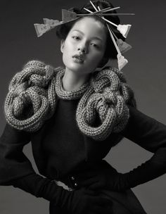 Sculptural Knitwear - knitted shoulder piece with beautifully structured symmetry - couture knits; 3d Fashion, Knitwear Fashion, Knit Fashion, Fashion Details, Fashion Design, Knit Art, Sculptural Fashion, Knitting Designs, Knitting Yarn