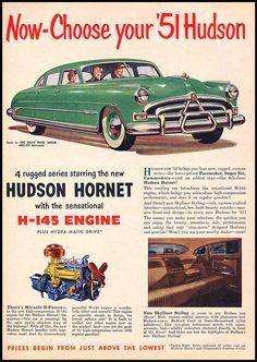 Old Advertisements, Car Advertising, Vintage Trucks, Vintage Ads, Hudson Hornet, Car Guide, American Classic Cars, Retro Illustration, Hot Cars