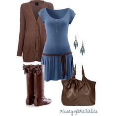 """Blue and Brown Bows"" by kaseyofthefields on Polyvore"