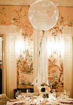 Big balloon with streamer as centerpiece...photo: Julie Harmsen Seattle & Hawaii