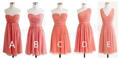 Coral Bridesmaid Dresses, Short Chiffon Bridesmaid Dress, Sweetheart Bridesmaid Dress, One Shoulder Bridesmaid Dress