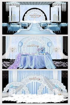 Nordic blue flower beautiful wedding effect picture Wedding Stage Design, Wedding Background, 3d Models, Nordic Style, Sign Design, Blue Flowers, Wedding Decorations, Decor Ideas, Pictures