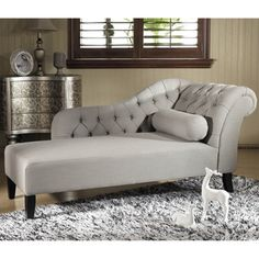 Baxton Studio 'Aphrodite' Tufted Putty Gray Linen Modern Chaise Lounge