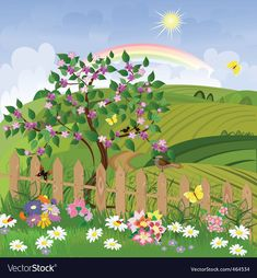 Illustration of spring landscape vector art, clipart and stock vectors. Craft Kits For Kids, Art For Kids, Spring Landscape, Clip Art, Cool House Designs, Royalty Free Stock Photos, Scenery, Creations, Garden Kids