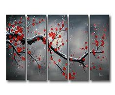 Winter wall decor is not only an amazing way tospruce up your homethis winter but also easy and affordable. In fact whether you like winter metal art, winter canvas wall art, or winter wall clocks you will find something to helpdeck the walls of your home.  Sanbay Art 100% Hand Painted Oil Paintings on Canvas Hot Sale Beautiful Winter Pink Plum Blossom Framed Inside 5-pieces Set Artwork for Living Room Kitchen and Home Wall Decoration