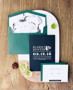 green and black wedding invitations - photo by Brushfire Photography http://ruffledblog.com/masculine-edgy-wedding-inspiration #stationery