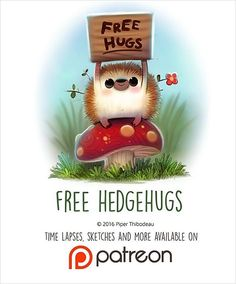 Daily Painting 1445. Free Hedgehugs illustration by Piper Thibodeau