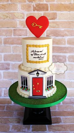 Peggy Does Cake, Brandon, Mississippi ~ Home is where the heart is cake ~ Housewarming cake ~ New house cake ~ Front door cake