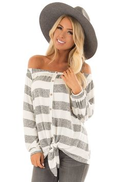 bf84ba05bba58 Lime Lush Boutique - Heather Grey and White Striped Off the Shoulder Top
