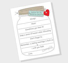 DIY Advice for the Bride & Groom Printable by LilCubbyPrintables, $3.99