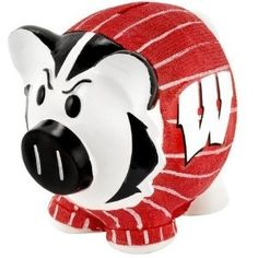 Wisconsin Badgers NCAA Thematic Resin Team Logo Piggy Bank