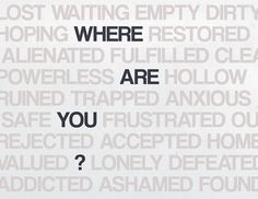 Where are you? Are you ashamed, addicted, alienated? Or are you trapped, anxious or defeated? Or powerless, hopeless or frustrated? I have good news for you. You don't have to be stuck in the mud. You can be accepted, valued and loved. You can be healed, strengthened and empowered. You can overcome. Not on your own. But by God's grace. http://www.flowingfaith.com/2013/05/strength-in-weakness.html