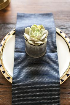 Place setting by Urbana and succulent by Camelback Flowershop - as featured on 'Rafterhouse' pilot show on HGTV.