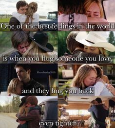 """callmebethany2010: """" Heartland - Tamy """"One of the best feelings in the world is when you hug someone you love, and they hug you back even tighter."""" """""""
