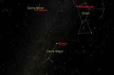 Winter triangle Next on the brightness list is Procyon, which is located in the constellation of Canis Minor (the lesser dog), 11.4 light-years from Earth. The star has an apparent magnitude of 0.38 and an absolute magnitude of 2.6. Image: Procyon, Betelgeuse and Sirius form the Winter Triangle. [See our facts about Procyon.