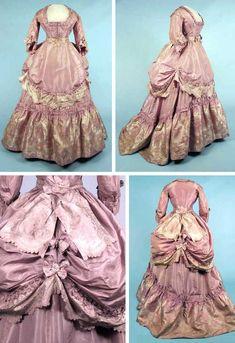 circa 1870 gown | Circa 1870 lavender brocade reception gown. Pale lilac silk taffeta ...