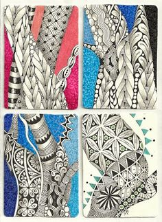 ) I signed up for an ATC (Artist Trading Card) swap a couple of months ago. Tangle Doodle, Tangle Art, Zen Doodle, Doodle Art, Mehndi, Henna, Zentangle Drawings, Doodles Zentangles, Doodle Patterns