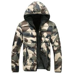 Sale 15% (39.86$) - Winter Fashion Camo Thick Warm Hooded Padded Jacket