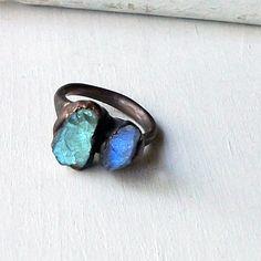 Labradorite Copper Ring Gem Stone Ring
