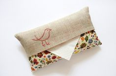 hand embroidered tissue pouch - edwardandlilly on etsy