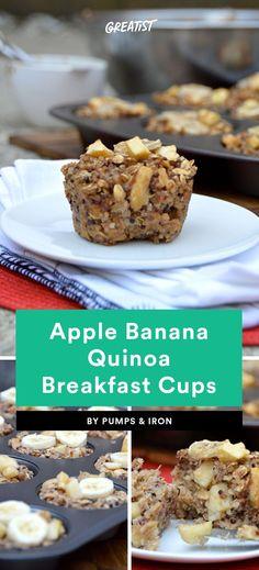 8. Apple Banana Quinoa Breakfast Cups #healthy #breakfast #recipes https://greatist.com/eat/healthy-breakfast-cup-recipes-to-fuel-your-mornings