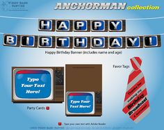 ANCHORMAN Collection  DIY Printable TV News by PiggyBankParties