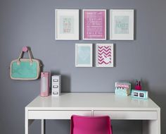 Girl's bedroom - desk with pink + white + mint accessories