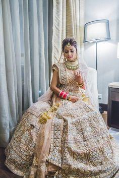 A Fun Delhi Wedding With A Colourful Mehendi Bridal Outfits, Bridal Dresses, Indian Dresses, Indian Outfits, Indian Bridal Lehenga, Wedding Lehnga, Wedding Wear, Gold Lehenga, Black Lace Midi Dress