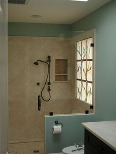 Stained Glass Window Panel Encased In Sealed Thermopane Unit And Set In The  Wall Of A Shower.u003cbru003e Window Transmits Light But Provides Complete Privacy.  X ...