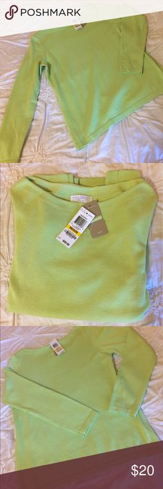 Charter Club Lime Green Pima Cotton Sweater Size M Beautiful Pima Cotton Women's Sweater from the Charter Club luxury clothing line:  • Size Medium  • Light Lime Green  • 100% Pima Cotton  • Long Sleeve  • Machine Washable  • Comes with extra thread  • New with Tags  • Retails $59  • Condition new with tags with small defect: Light mark on right sleeve which might be able to be washed out see photo number 8. Came packaged this way from Macy's. Charter Club Sweaters Crew & Scoop Necks
