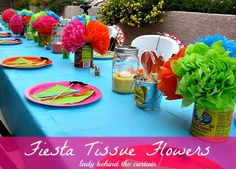 Fiesta Tissue Flowers - Lady Behind the Curtain Mexican Fiesta Party, Fiesta Theme Party, Taco Party, Salsa Party, Tissue Flowers, Paper Flowers, Flower Fabric, Real Flowers, Fiesta Decorations