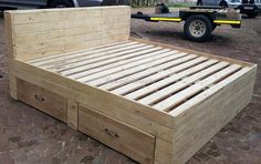 1 giant pallet bed frame with storage