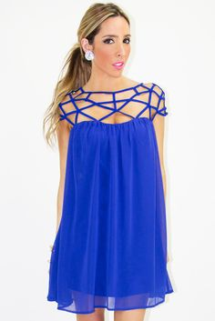 Add a black belt and bam! Royal Ascot Ladies Day, Evening Dresses, Summer Dresses, Royal Blue Dresses, Cutout Dress, Cold Shoulder Dress, Cute Outfits, Fancy, My Style