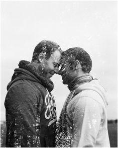 Siegrid cain stylish gay couple autumn engagement Austria double exposure black and white